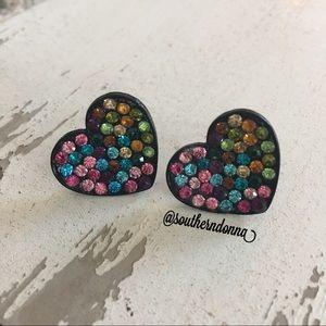 Jewelry - 💕 Adorable Rhinestone Heart Earrings 💕